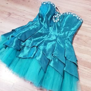 DEB Emerald Green Strapless Dress Prom